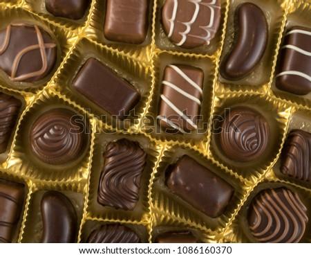 Assortment Beautiful Sweet Chocolates Box Top Stock Photo Edit Now