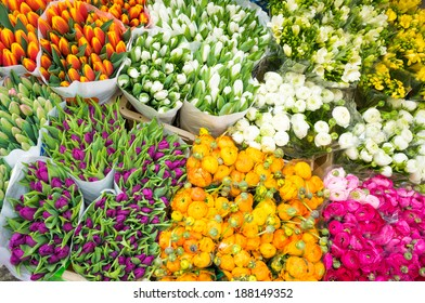 Assortment of bouquets of colorful tulips in a farmers market