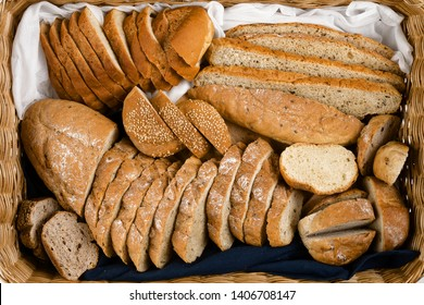 the assortment of bread in basket