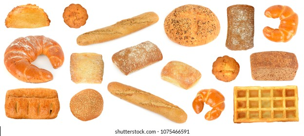 Assortment bread products from wheat and rye isolated on white background.