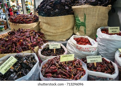 Assortment of chili peppers for sale in a market in Oaxaca, Mexico