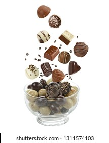 Assortment of chocolate candies isolated on white background
