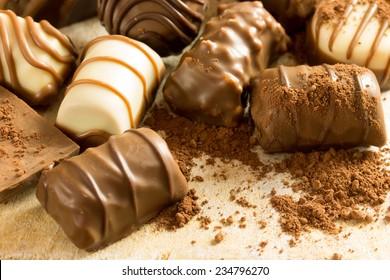 Assortment chocolate praline sweets