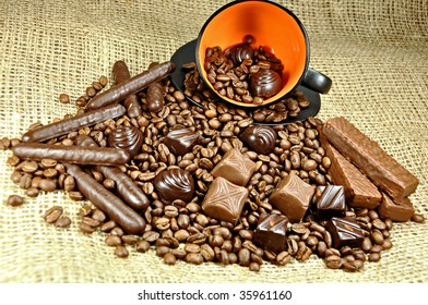 Assortment of chocolates with coffee beans