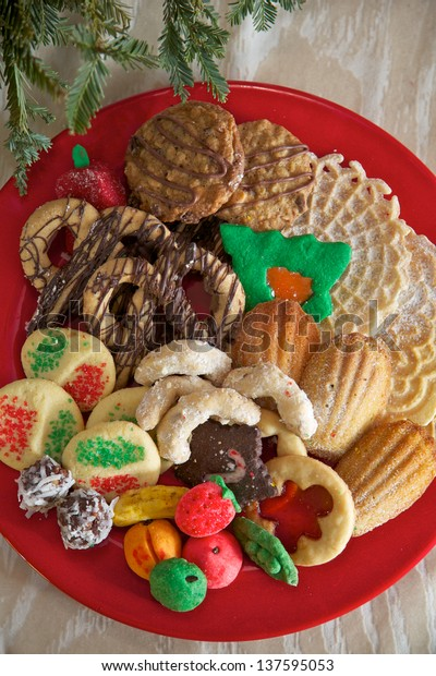 Assortment Christmas Cookies Including Marzipan Madeleine Stock