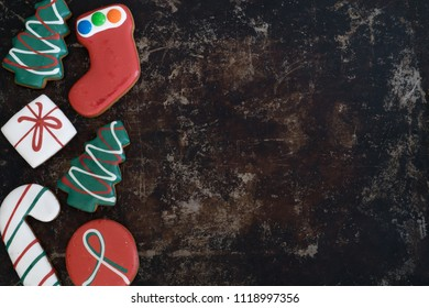 Assortment of Christmas Gingerbread on Tray with Dark Background with Copy Space Right