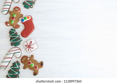 Assortment of Christmas Gingerbread of White Background with Copy Space Right