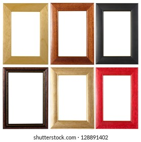 An assortment of classic picture frames isolated on white