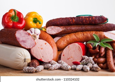 Assortment of cold meats, variety of processed cold meat products.