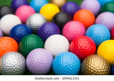 Assortment of colorful mini golf or putt putt balls