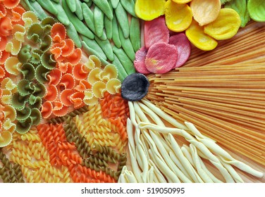 Assortment Of Colorful Pasta Close Up, Dyed With Natural Dye From Carrots,  Potatoes,