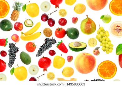 Assortment colorful seasonal ripe and juicy raw fruit and vegetables. Vegetarian Assorted Healthy Food. Natural Background. Vegan diet. Isolated on a white background