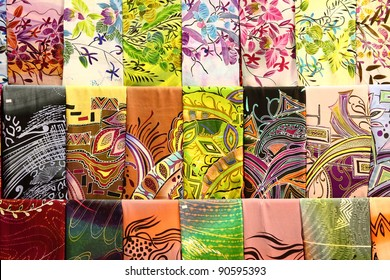 Assortment of colorful traditional Asian batik fabrics for sale in Kuala Lumpur, Malaysia