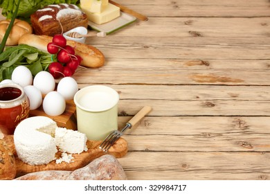 assortment of dairy products (milk, cheese, sour cream,)