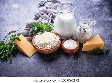 Assortment of dairy products. Milk, yogurt, sour cream, cottage and cheese