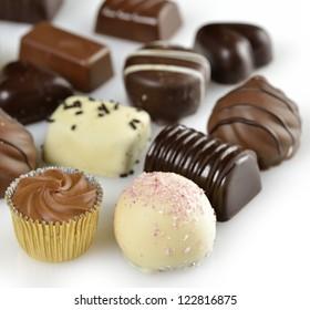 Assortment Of Dark And White  Chocolate Candies