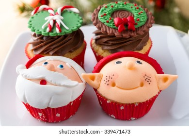 Assortment of decorated cupcake for Christmas