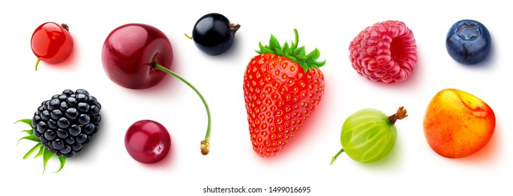 Assortment of different berries isolated on white background, flat lay, top view, fresh strawberry and blueberry, ripe cherry, raspberry, gooseberry and blackberry, black and red currants