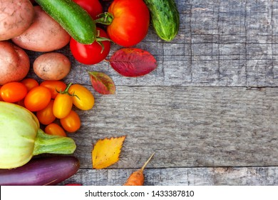 Assortment different fresh organic vegetables on country style wooden background. Healthy food vegan vegetarian dieting concept. Local garden produce clean food. Frame top view flat lay copy space