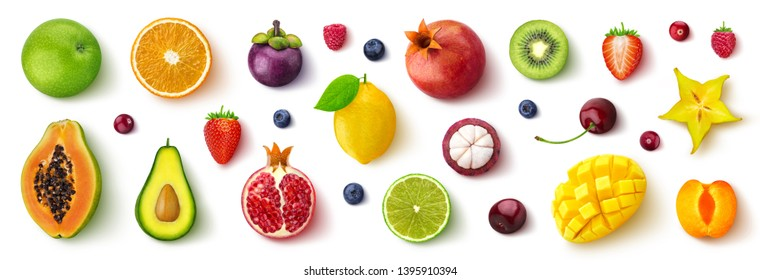 Assortment of different fruits and berries, flat lay, top view, apple, strawberry, pomegranate, mango, avocado, orange, lemon, kiwi, peach isolated on white background - Shutterstock ID 1395910394