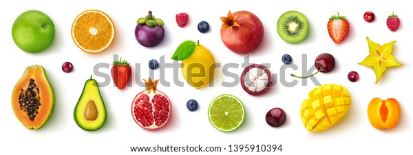 Assortment of different fruits and berries, flat lay, top view, apple, strawberry, pomegranate, mango, avocado, orange, lemon, kiwi, peach isolated on white background