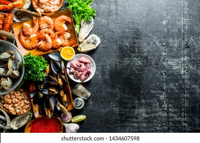 Assortment of different seafood with garlic, herbs and spices. On dark rustic background