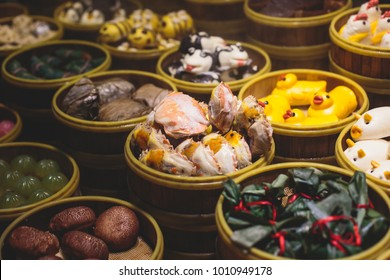 Assortment of different types of asian traditional street food in Shanghai, China