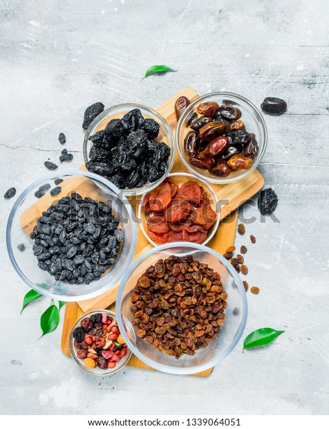 Assortment Different Types Dried Fruits Bowls Stock Photo