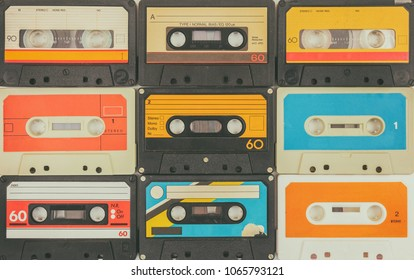 Assortment of different vintage audio compact cassettes