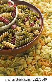 Assortment of dried pasta noodles in bowls