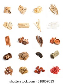 Assortment of Dried Traditional Alternative Chinese Herbal Medicines on white background