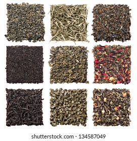 assortment of dry tea on white background