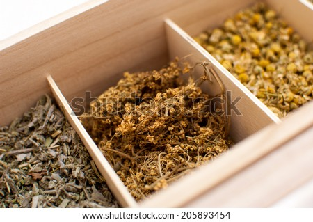 Assortment Dry Tea Wooden Box Stock Photo Edit Now 205893454