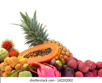 Assortment of exotic fruits isolated on white background