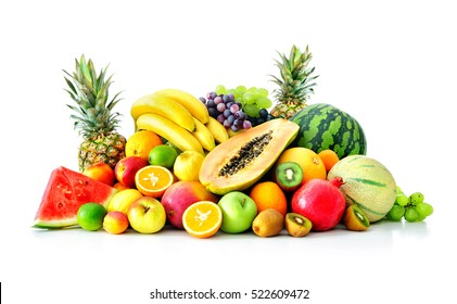 Assortment of exotic fruits isolated on white - Shutterstock ID 522609472