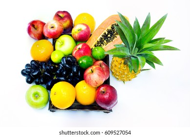 Assortment of exotic fruits isolated on white background