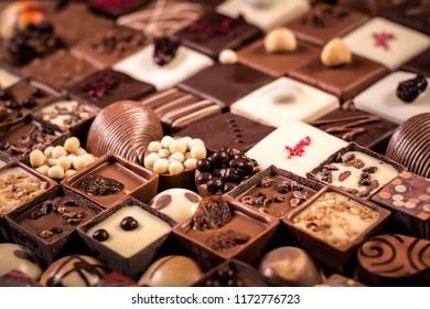 Assortment of fine chocolate candies, white, dark and milk chocolate
