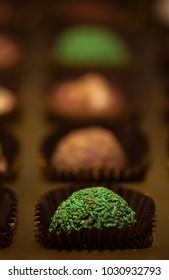 Assortment of fine dark, brown and white chocolates