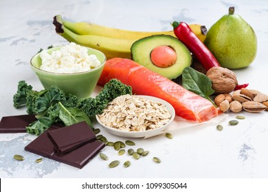 Assortment of food - natural sources of dopamine. Food good for brain on white background. Copy space