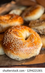Assortment of fresh baked authentic New York style seeded bagels