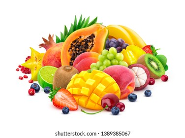 Assortment of fresh exotic fruits isolated on white background with clipping path, fresh and healthy fruits and berries mix