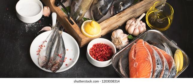 Assortment of fresh fish. Top view. Panorama