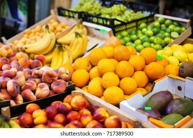 Assortment of fresh fruits at market