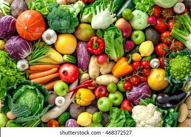 Assortment of  fresh fruits and vegetables - Shutterstock ID 468372527