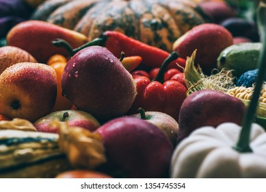 Assortment of fresh fruits and vegetables. Composition with assorted raw organic vegetables and fruits. Toned image.