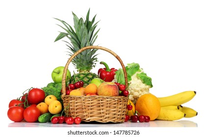 Assortment of fresh fruits and vegetables, isolated on white