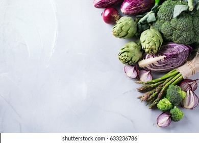 Assortment of fresh organic farmer vegetables food for cooking vegan vegetarian diet and nutrition. Copy space background, top view flat lay overhead