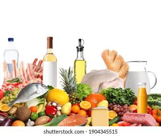 Assortment of fresh organic products on white background. Balanced food