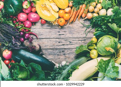 Assortment Fresh Organic Vegetables Frame Heart Wooden Background Country Style Market Concept Local Garden Produce Clean Food Eating Dieting Toned