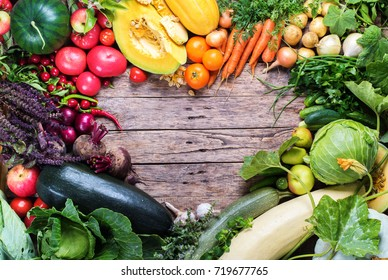 Assortment Fresh Organic Vegetables Frame Heart Wooden Background Country Style Market Concept Local Garden Produce Clean Food Eating Dieting